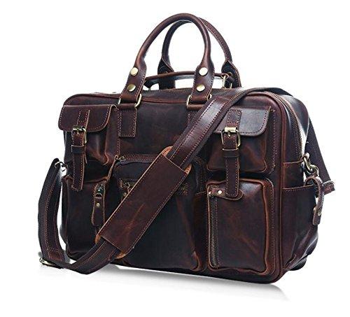 Herren Vintage Leder Gepäck reisen Taschen Herren Mode single Schulter geschlungen tragbare Aktentasche Dark Brown