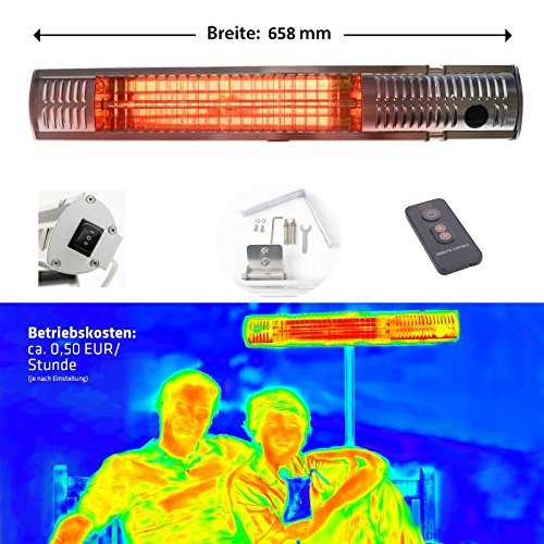 Gardigo Edelstahl Infrarot Heizstrahler   Infrarotstrahler Kurzwellen - wärmen gezielt Menschen, nicht die Umwelt, keine abtriftende Wärme   Wärmestrahler   4-Stufen 650-2000 W   Deutscher Hersteller