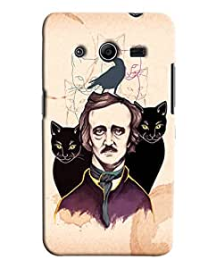 Blue Throat Man With Two Cats Printed Designer Back Cover For Samsung Galaxy Core 2