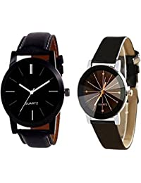 Divine Watch Crydtal Glass Women And Black Leather Strap Men Watch For Couple And Boys And Girls Watch - For Men...