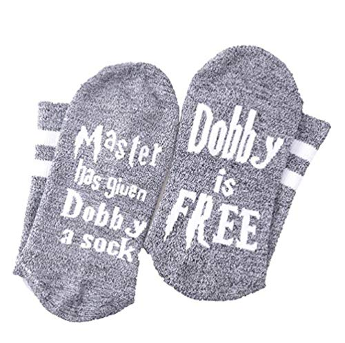 Pxmoda Master Has Given Dobby a Sock Dobby is Free Harry Potter Funny Crew Socken Geschenk (Grau schwarz, One Size)