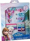 Frozen Schmuckset Dieses Schmuckset, bestehend aus 18 Teilen, begeistert die Mädchenwelt. Vielfältige Auswahl für jedes Mädchen: eine Kette mit passendem Armband sowie verschiedene Haarklammern und Elastikbänder. Ein attraktives Schmuckset für jeden Disney Frozen-Fan!