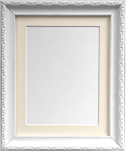 Frames By Post AP3025Bilderrahmen mit elfenbeinfarbenem Passepartout 40x 30cm für 12x 25,4cm Bild Größe, weiß, 30mm breit