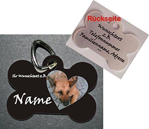 Anhänger Knochen fürs Halsband personalisiert zweiseitig bedruckt mit Bild (in ein Herz oder einen Kreis gefasst) und Name Telefonnummer Adresse ... Hundemarke f. Hundehalsband Katzenhalsband Kette DogTag