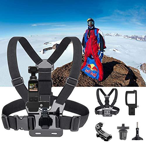 Hootracker Brustgurt-Karosseriekabelsatz für Gopro Action-Kameras, Erweiterungsplatinenadapter Teile Halterungsklemme aus Metall für DJI OSMO Pocket, 1X J-Sitz, 2 X-Montagestecker, 1X-Lange Schraube -