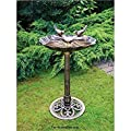 Bronze Effect Double Bird Bath Garden Stand Weather Resistant Centrepiece by Other