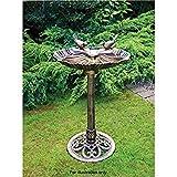 Bronce efecto doble pájaro baño jardín soporte resistente a la intemperie Centrepiece