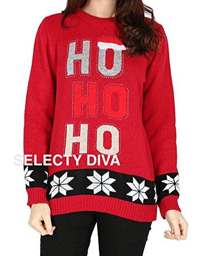 Fast Fashion - Cavalier Manches Longues Ho Ho Stretchy Nouveauté Christmas - Femmes Rouge