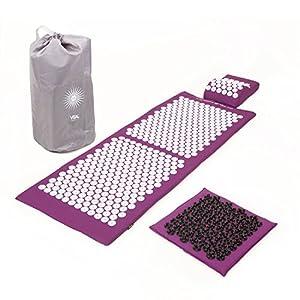 Akupressur-Set VITAL DELUXE XL SOFT (aubergine): Akupressurmatte (130 x 50 cm) & Akupressurkissen im günstigen Set, vitalisierende Matte für den Rücken und Kissen für den Nacken, wohltuende Entspannungsmatte & Kissen