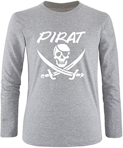 EZYshirt® Pirat Herren Longsleeve Grau/Weiß