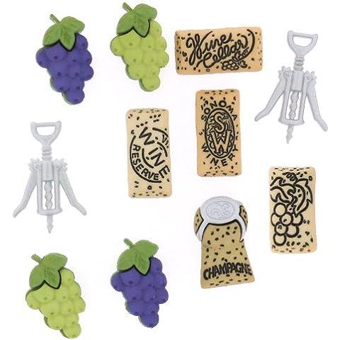 Dress It Up Uncorked pulsante, Plastica, Multicolore, 21x 13–27x 17mm, 11pezzi