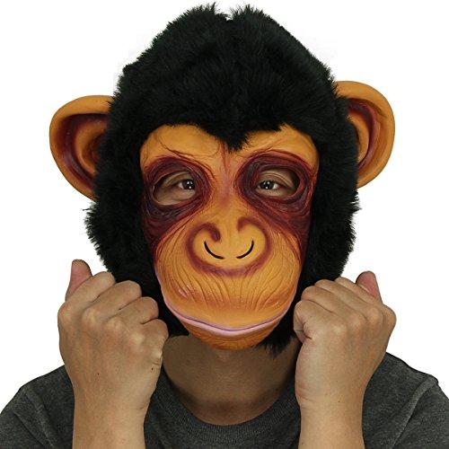 Affe Kopfmaske, Cusfull Neuheit Halloween-Kostüm Party Latex Tiermaske Affe Kopf Maske Headmaske Halloween-Party-Kostüm (Affe Halloween Maske)