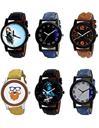 NIKOLA Brand New Technology Mahadev Beard Style Black Blue And Brown Color 6 Watch Combo (B22-B37-B18-B54-B23-...