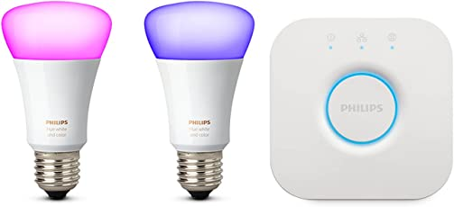 Philips Hue White und Color Ambiance E27 LED Lampe Starter Set, 2 Lampen