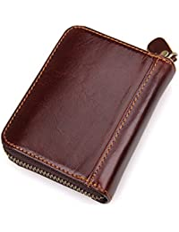 Women'S Genuine Leather Wallet Rfid Blocking Spacious Zipper Card Wallet Small Purse By Augus