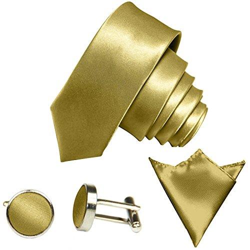 GASSANI 3-SET Krawattenset, 6Cm Schmale Goldene Herren-Krawatte Dünn Manschettenknöpfe Ein-Stecktuch, Bräutigam Hochzeitskrawatte Glänzend