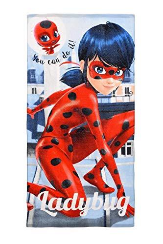 Kinder Handtuch/Saunatuch/Strandtuch/Duschtuch/Badetuch Motiv: miracolous Ladybug - 70 x 140 cm - aus Baumwolle- tolles Geschenk für Mädchen (grau 1)
