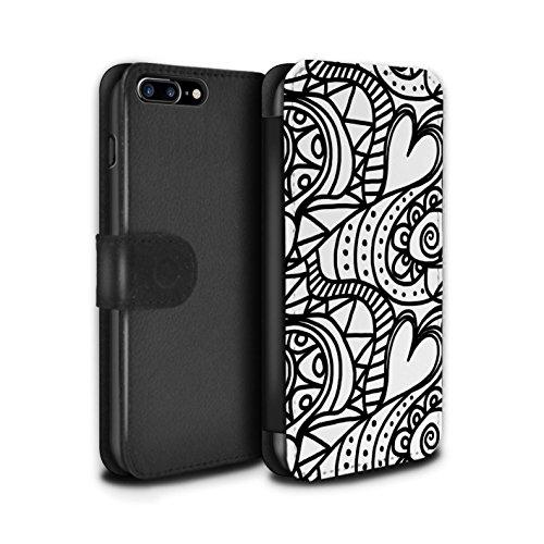Stuff4 Coque/Etui/Housse Cuir PU Case/Cover pour Apple iPhone 8 Plus / Pétales Minuscules Design / Mode Noir Collection Tourbillon/Cour