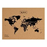 Miss Wood Map XL, Mappa del mondo di Sughero, 60 x 90 cm, Naturale/Nero