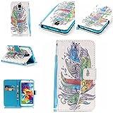 Qiaogle Téléphone Coque - PU Cuir rabat Wallet Housse Case pour Samsung Galaxy A3 (2016) / A3 (2016) Duos / A3100 (4.7 Pouce) - YB19 / Retro colorée plume