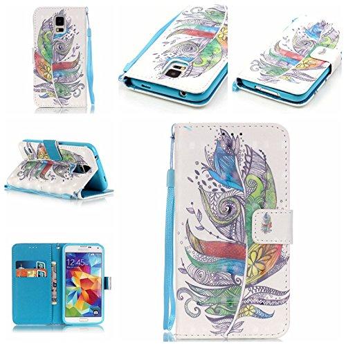 Qiaogle Telefon Case - PU Leder Wallet Schutzhülle Case für Apple iPhone 7 (4.7 Zoll) - YB14 / Paris Turm YB19 / Retro bunte Feder