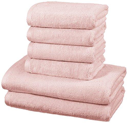 AmazonBasics - Handtuch-Set, schnelltrocknend, 2 Badetücher und 4 Handtücher - Blütenrosa, 100% Baumwolle