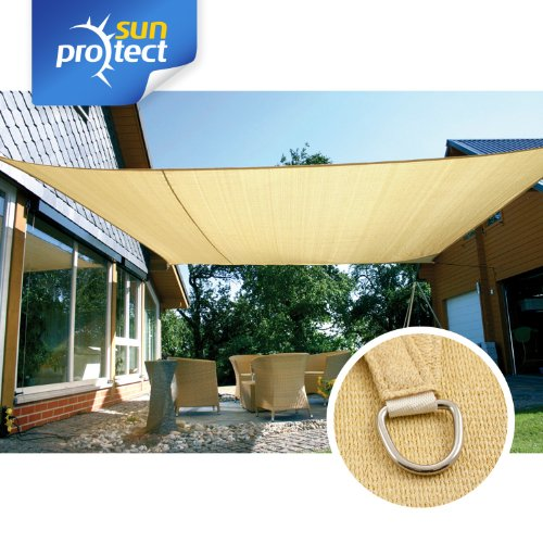 Sunprotect 83230 professional tenda a vela, 6 x 4 m, rettangolare, beige