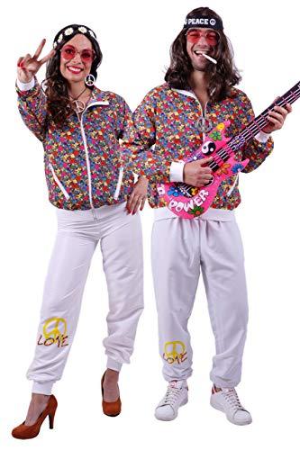 FetteParty - Hippi Erwachsenenkostüm, Deluxe Trainingsanzug - Jogginganzug, Jacke und Hose - 60-er Jahre 70-er Jahre Schlagermove Groovy Mottoparty Karneval JGA - 60er Jahre Motto Party Kostüm