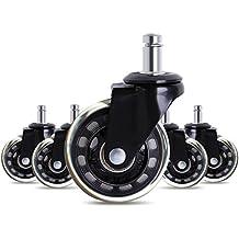 Antaprcis 5Pcs Ruedas para Sillas de Oficina Ruedas de Repuesto Caster 2.5-Inch Rolling y Seguro Negro