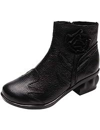 ZHRUI Botas Mujer Zapatos Botines Mujer Cuero Estilo étnico Martin Botas Flores Cosidas a Mano Zapatos