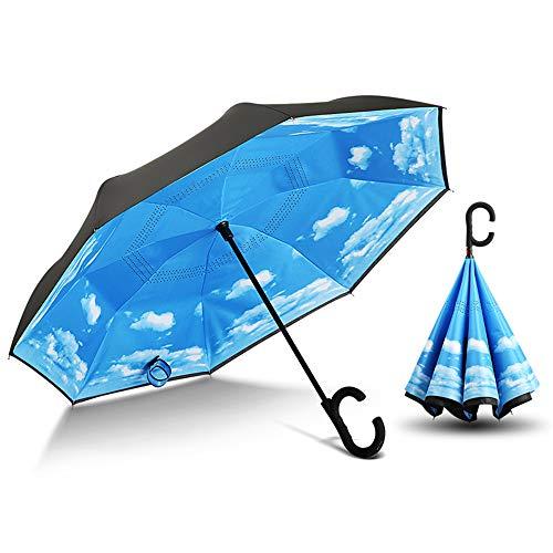 Reverse Umbrella Car Umbrella Manual Kreative Double-Layer-Free Long Handle Regenschirm Regen-Proof Sonnenschirm Business Umbrella Blauer Himmel Und Weiße Wolken -