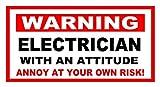 Funny Warnung Aufkleber Elektriker mit eine Haltung Ärgern auf eigene Gefahr. 150mm x 100mm