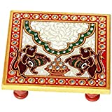 Marble Chowki with Mouse Painted by Handicrafts Paradise