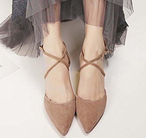 Beauqueen Scarpin Pumpe Einfache Scrub Spitz-Toe Mädchen Frauen Casual Tie Elegante Aprikose Schwarz Schuhe Europa Größe 34-39 apricot