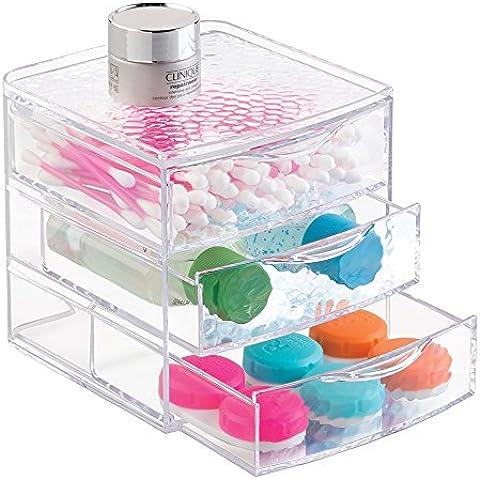 mDesign - Organizador del tocador del cuarto de baño; guarda productos de belleza y para el cuidado de la salud, cosméticos, maquillaje - 3 cajones - Claro