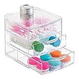 mDesign Organizzatore Bagno per Prodotti di Salute e di Bellezza, Cosmetici, Trucco - 3 Cassetti, Trasparente