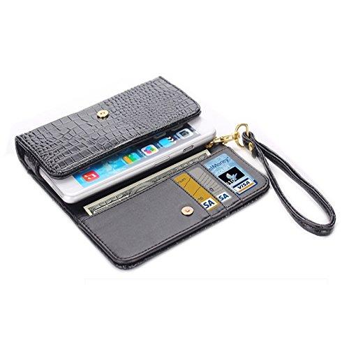 wkae Schutzhülle Case & Cover Universal Krokodil Textur Leder Tasche mit Kartenfach & Portemonnaie & lanyardfor iPhone 6Plus & 6splus/6/5/5S/5C/Samsung Galaxy/S 5/S IV/i9500 schwarz