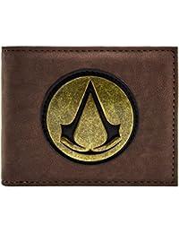 Cartera de Assassins Creed símbolo retro original dorado Marrón