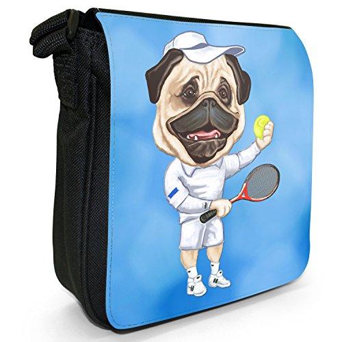 Carlino Sport Atleta Rugby Calcio Tennis Piccolo Nero Tela Borsa a tracolla, taglia S Tennis Player Pug With Ball