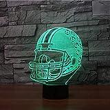 7 Changement de couleur Led Veilleuse 3D Vision Rugby Casque Forme USB Lampe de Table Creative Enfants Chambre Sommeil Éclairage Sport Cadeau Décor
