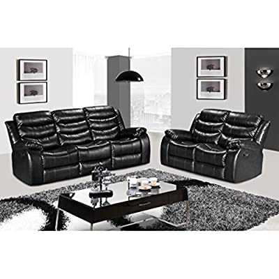 LANGRIA 2-Seater & 3-Seater Bonded Leather Recliner Chair Sofas Set, Split Back Design, Pillow Top Backrest and Armrests, Elevating Footrest, 300 lbs. Capacity, Recline from 100¡ã to 155¡ã by LANGRIA