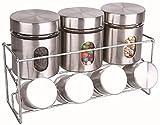 Harewood 8Stück Stahl & Glas Vorratsdose Set mit Metall Ständer für Küche & Home