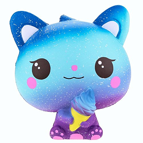 Kfnire Squishies de Animales, Gatos de Helado Kawaii de Crecimiento Lento y Lento, Juguetes Blandos para aliviar el Estrés (Azul)