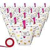 25 Pièces Stand Up Sacs de Bonbons en Papier/ Sacs-Cadeaux avec Un Rouleau de Ruban, Boîte de Papier Kraft pour Épicerie Sacs de Fête à Fond Plat pour Anniversaire Mariage (Motif de Coeur)