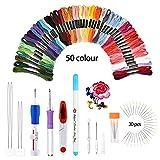 Kit punto croce, BASEIN Set di ricami per ricamo Kit di utensili per ricamo Punch per cucire compresi 50 fili colorati per cucito fai da te Punto croce
