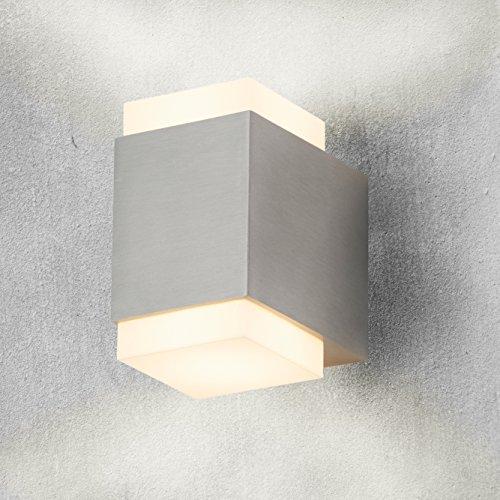Briloner Leuchten 3610-022 A+, LED Außenleuchte, Wandlampe, Wandleuchte, Wegelicht, Metall, 4.5 W, Integriert, edelstahl, 9.2 x 6.8 x 11 cm
