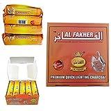 Holzkohle-Scheiben von Al-Fakher, schnell zündende Holzkohle, 3Rollen, 30Scheiben