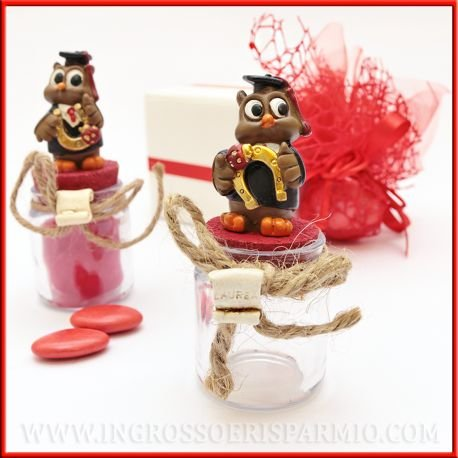 BOMBONIERA Portaconfetti in Glass with Cork Stopper Red Complemented by a Owl Resin Graduation with Lucky Horseshoe–Wedding Favours kit 12 pz. rosso in