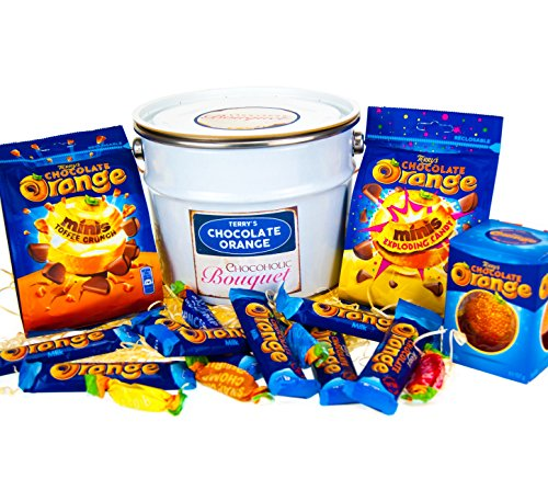 Terry's Chocolate Orange Hamper, Bucket of Chocolate - 16 Piece Terry's' Gift Hamper Chocolate Selection – Terry's Chocolate orange, Sensations, ,Minis Exploding Candy, Minis Toffee Crunch & Terry's chocolate orange bar all Beautifully presented in a Retro style 2.5 Litre lever Lid tin Paint Pail - The perfect gift By Chocoholic Bouquet.