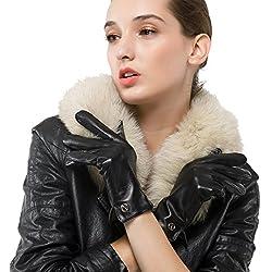 Las mujeres de piel de cordero de cuero italianoNappaglo Guantes invierno caliente simple largo forro polar guantes touchscreen (m (Palm:17.8-19.0cm), negro (pantalla táctil)
